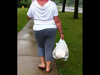Sexy BBW MILF going home after grocery..