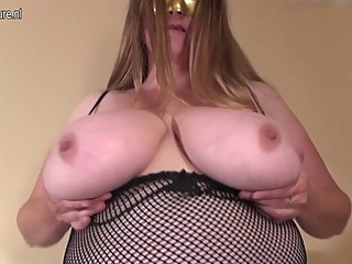 FAT Huge breasted housewife mom playing..