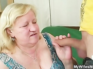 Wife comes in when her huge mom..
